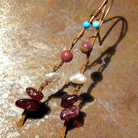 SALE ! Hand forged earrings. Copper, Gemstone, Urban, Primitive, Bronze,
