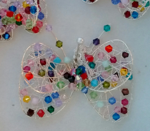 Swarovski Crystal Butterfly pendant, brooch, necklace, hair ornament, gift chris