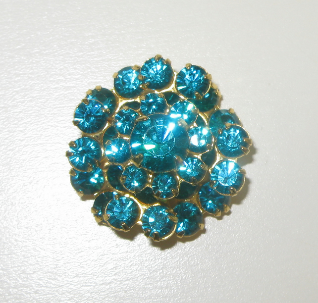 Swarovski Vintage Crystal Button Bead Blue Zircon Gold-plated de-stash