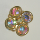 Swarovski Vintage AB Crystal Button Bead Aurora Borealis Gold-plated de-stash