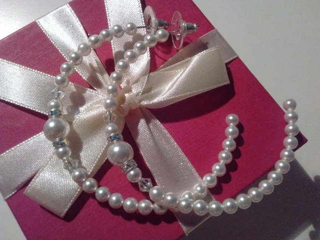 Hand made Swarovski Pearl and Crystal Hoop Earring, gift, birthday,  statement