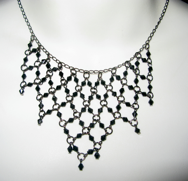 Necklace, Choker, Black Crystal, Goth, Steampunk, Vintage, Chainmaille