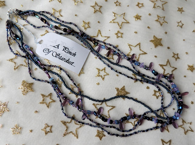 Blue and purple glass bead Necklace
