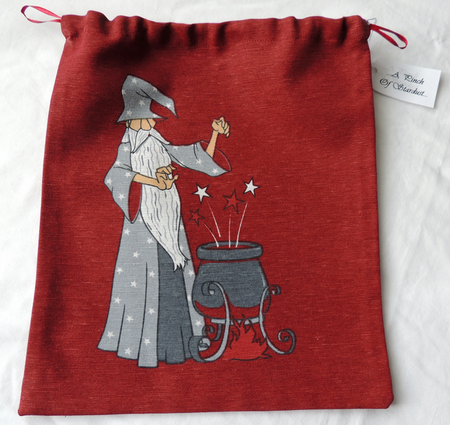 Wizard Drawstring Bag in Red and Grey