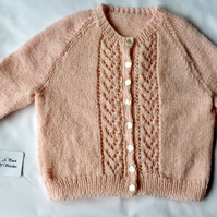 "Girl's Pale Pink 26"" Cardigan"