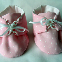 Baby Shoes in Pale Pink with White Polka Dots for a New Born Infant