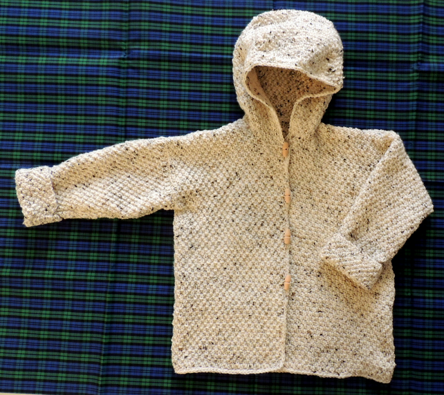 "Child's 28"" Hand-knitted Hooded Cardigan"