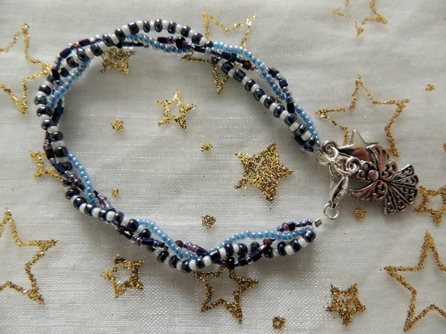 Glass Bead Bracelet with Star and Angel Charms