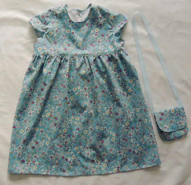 Girl's Blue Floral Summer Dress with Matching Shoulder Bag Age 3-4