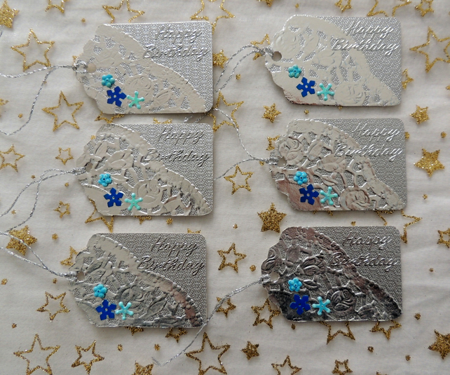 Silver Metallic Card Gift Tags