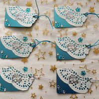 Blue Metallic Card Gift Tags