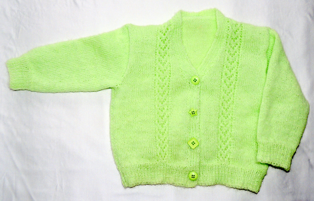 "Girl's Mint Green V-Neck Hand-Knitted 24"" Cardigan Age 3-4 yrs"