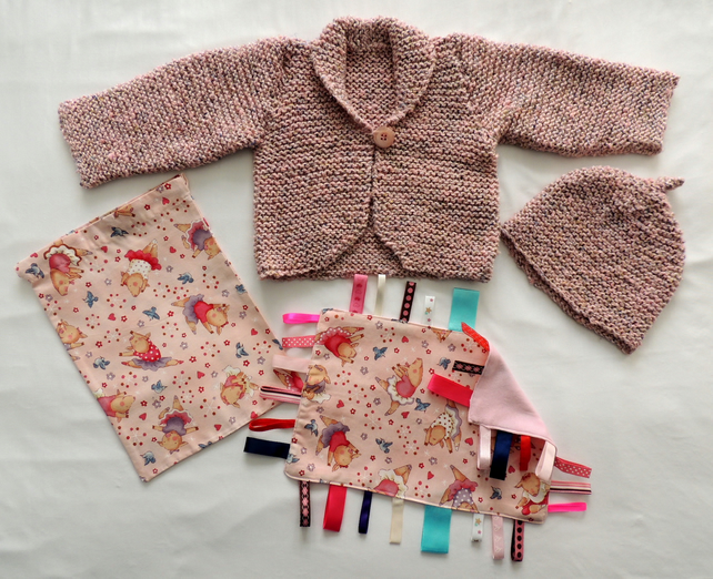 "New Born Baby Girl's Hand-Knitted 16"" Cardigan and Hat Gift Set"
