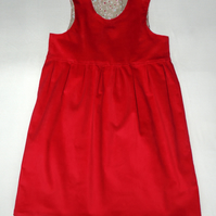 Girl's Cerise  Pink Corduroy Pinafore Dress age approx 5-6yrs