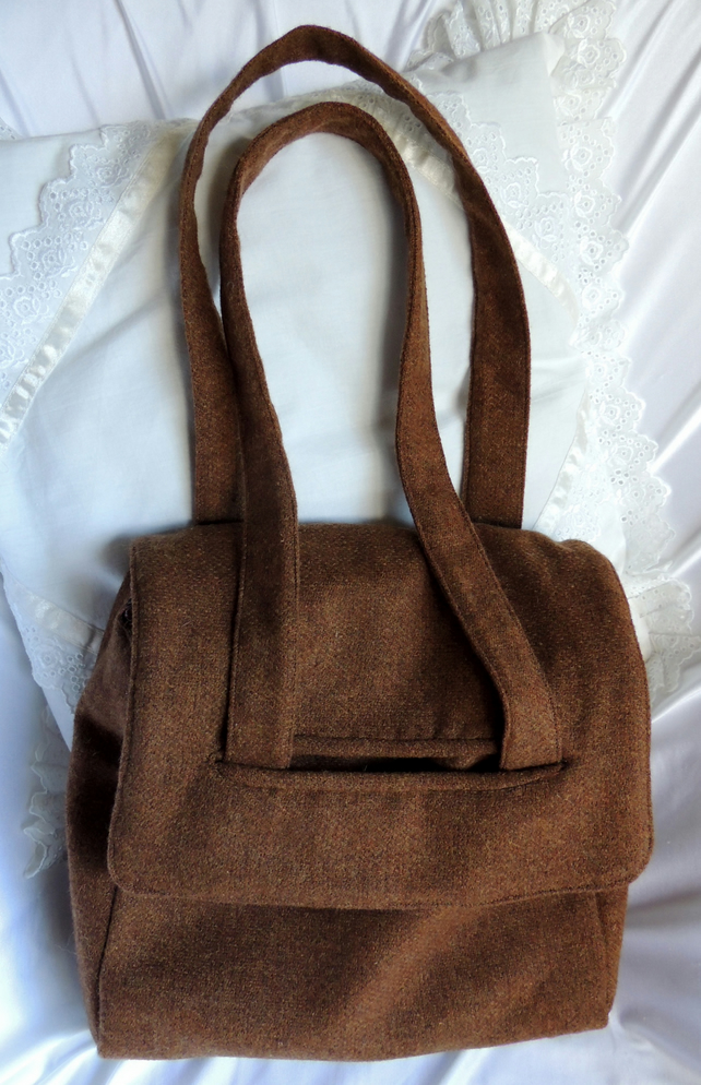 REDUCED Brown Tweed Satchel Style Shoulder or Handbag