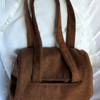 Satchel Style Shoulder or Handbag in Brown Tweed from the Scottish Borders