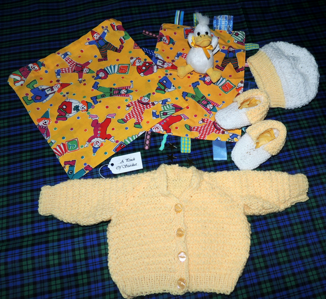 "Newborn Baby's Hand knitted 16"" Cardigan Gift Set"