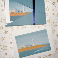 "Art Card - ""Scituate Lighthouse"" Blank Note Card - Pack of 6 Notelets"