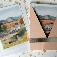 "Art Card - ""Lakeland Farm"" Blank Note Card - Pack of 6 Notelets"