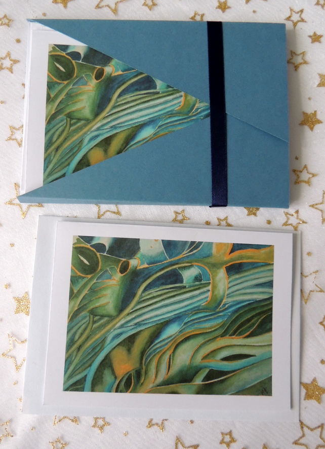 "Art Card - ""Seaweed"" Blank Note Card - Pack of 6 Notelets"