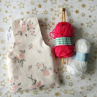 Child's Project or Knitting Bag with Knitting Needles and Wool Kit