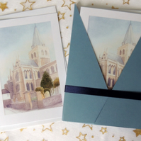 "Art Card - ""Rochester Cathedral"" Blank Note Card - Pack of 6 Notelets"