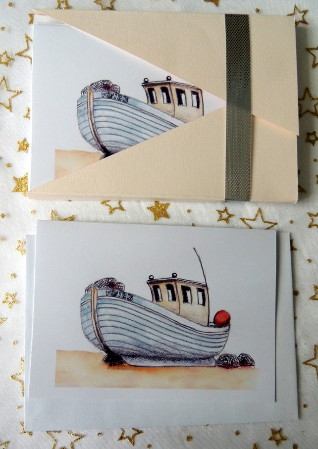 """Quirky Fishing Boat"" Blank Note Card - Pack of 6 Notelets"