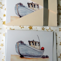 "Art Card - ""Quirky Fishing Boat"" Blank Note Card - Pack of 6 Notelets"