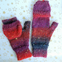 Ladies Hand Knitted Red Fingerless Mittens with a Flip Top