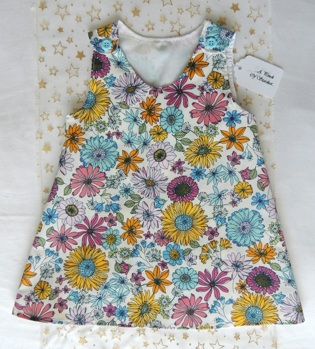 Girl's Floral Pinafore Style Dress