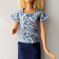 "Skirt and Top Outfit for Barbie Doll or Similar 12"" Doll"