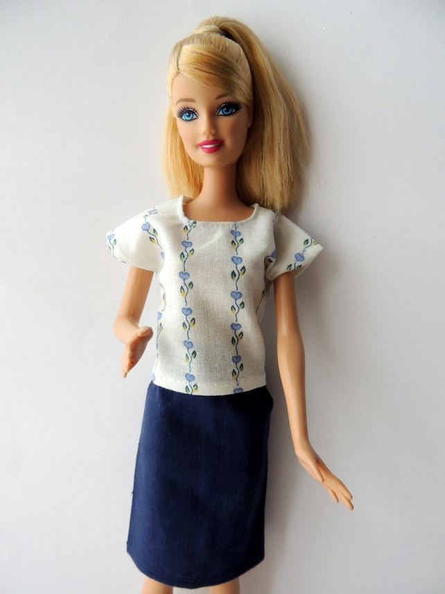 "Blue Skirt and Top Outfit for Barbie Doll or Similar 12"" Doll"