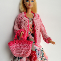 "Summer Dress, Cardigan and Bag for Barbie or similar 12"" Doll"