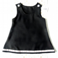 "Girl's A-line Black Linen 22"" Pinafore Dress"
