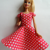 "Red and White Dress to fit Barbie or similar 12"" doll"