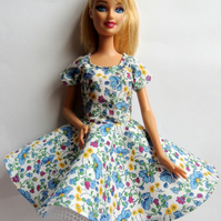 "Blue Floral Dress to fit Barbie or similar 12"" Doll"