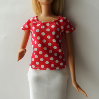 "White Pencil Skirt and Red and White Top to fit Barbie or similar 12"" doll"