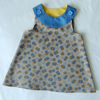 Girl's A-line dress in Beige, Blue and Yellow Age 1 to 2 Years