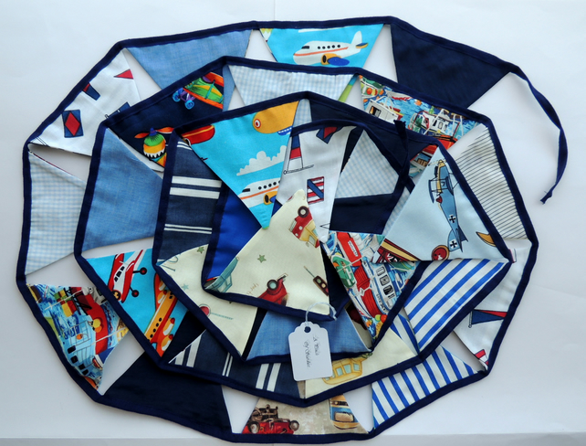 Bunting in Blues and White with a Transport Theme- Planes, Cars,Train 3.5 Metres