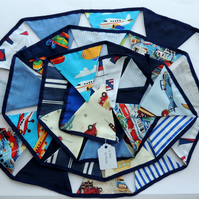 Bunting in Blues and White with a Transport Theme 3.5 Metres