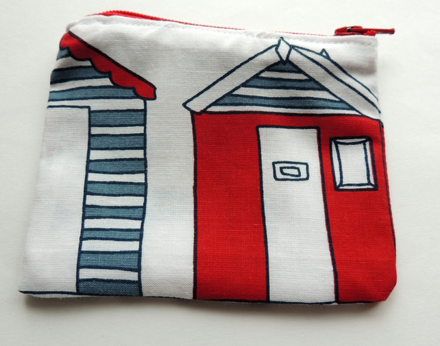 Zipped Coin Purse with a Beach Hut design