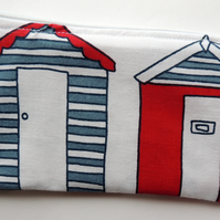 Zipped Purse with a Beach Hut Design