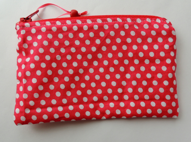 Zipped Coin Purse in Red and White