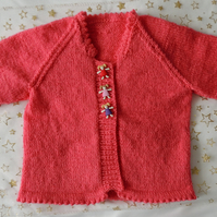 "Girl's 20"" Coral Pink Hand Knitted Cardigan"