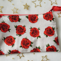 Red Rose Coin Purse, Zipped Change Purse