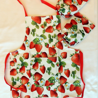 Child's Strawberry Patterned Craft or Cookery Apron with Matching Cuffs