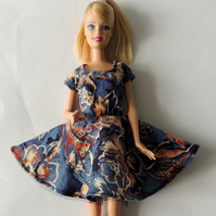 "Blue and Beige Summer Dress for a Barbie or similar 12"" Doll"