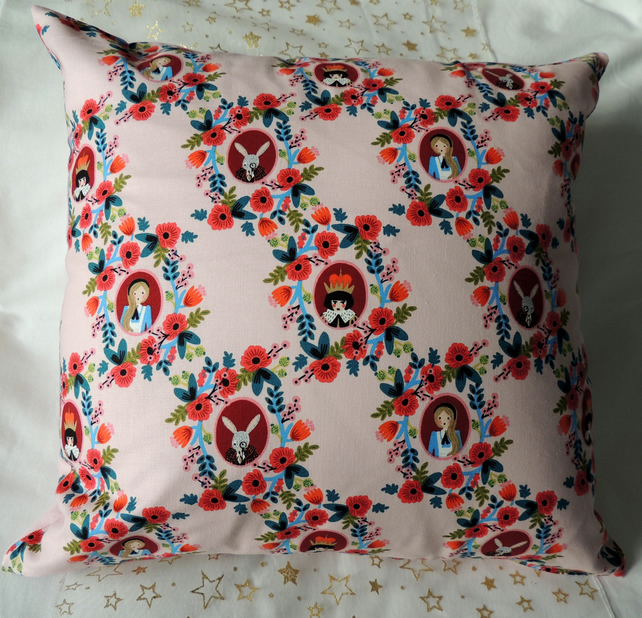 Pink Alice in Wonderland Cushion Cover