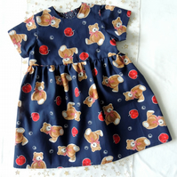"Navy Blue Dress with a pattern of Teddy Bears and Apples to fit 20-21"" chest"