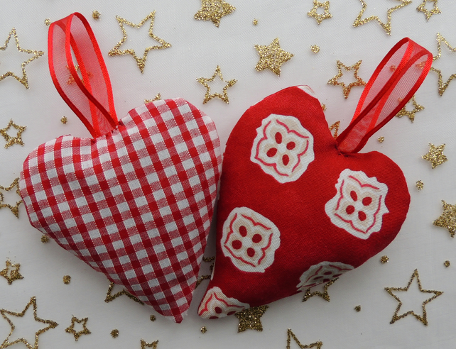 2 Red and White Hanging Heart Shaped Lavender Sachets